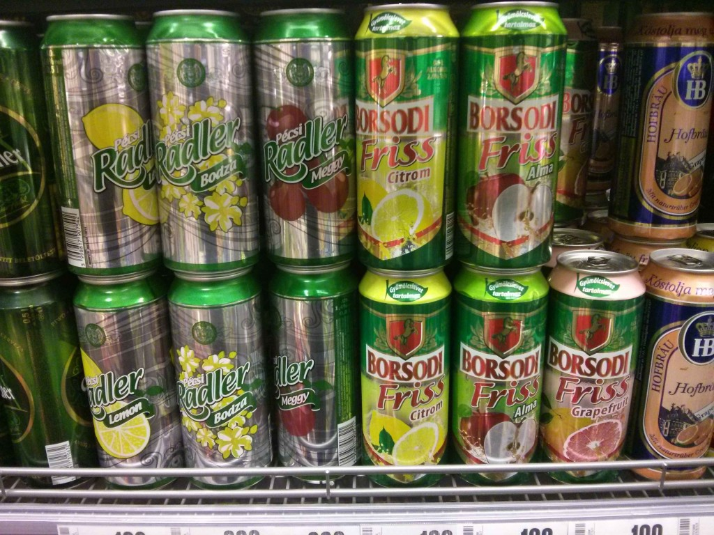 Fruit beers in a Hungarian supermarket