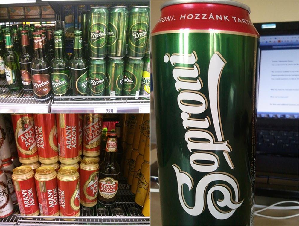 Hungarian beers: Soproni, Dreher, Arany Ászok