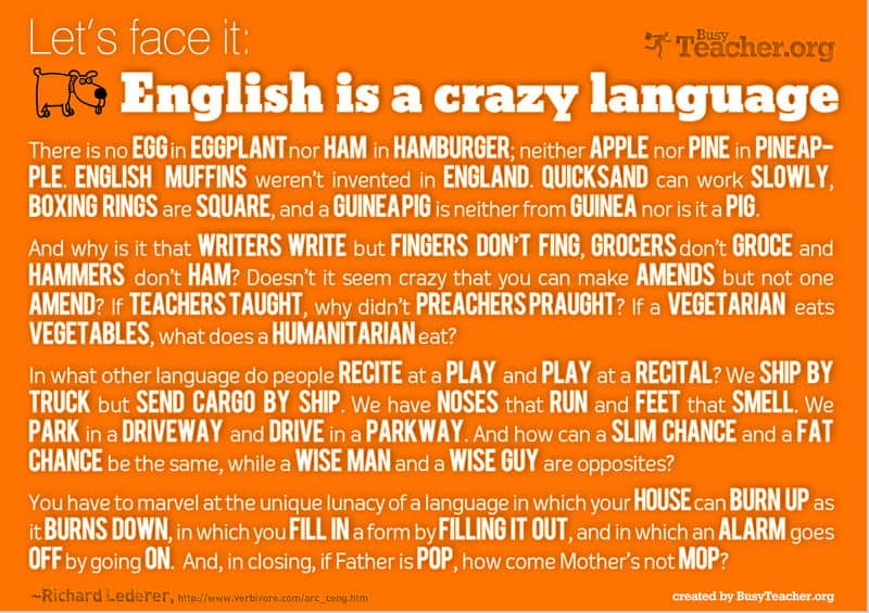 English is a crazy language from BusyTeacher.org | PackMeTo.com