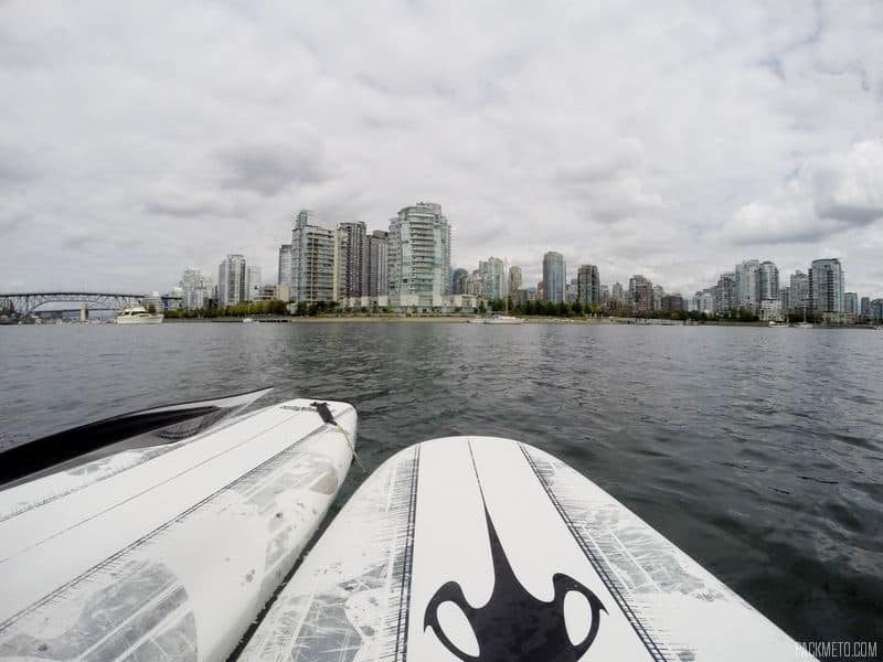 Overlooking Yaletown | Paddleboarding at Granville Island, Vancouver | packmeto.com