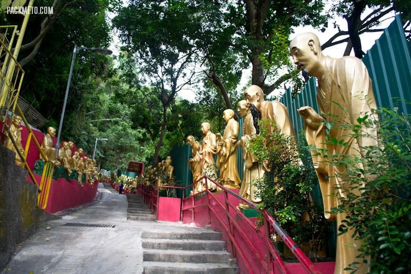 Leaning Arhan Statues Ten Thousand Buddhas Monastery Hong Kong | packmeto.com
