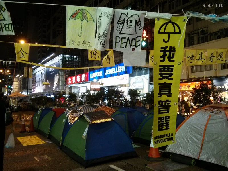 Umbrella Revolution Sign - Hong Kong at Night | packmeto.com
