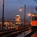 Budapest tram at dusk