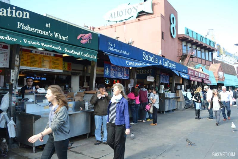 Food Stalls at San Francisco Fishermans Wharf - Exploring San Francisco's Fisherman's Wharf & Pier 39 | packmeto.com
