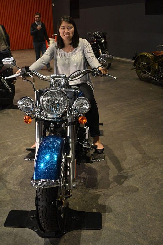 Adelina on Motorcycle Harley Davidson Museum