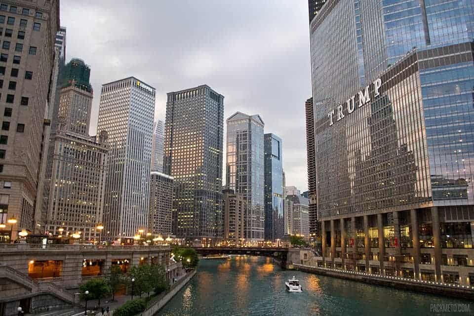 Chicago Riverwalk At Dusk