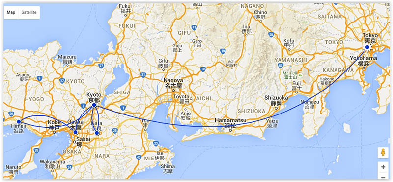 Japan 12 Day Itinerary Route