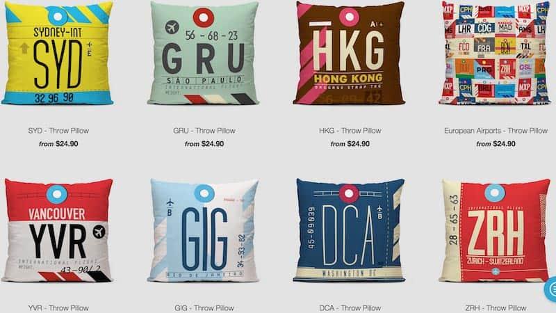 Airport code throw pillows
