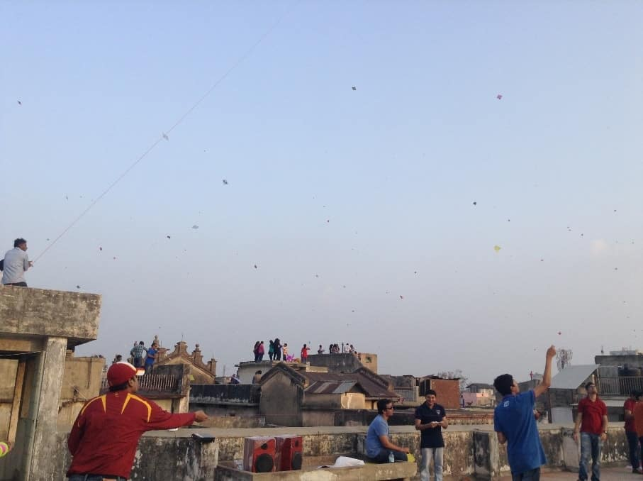 Kites dotted the sky in the Old City of Ahmedabad