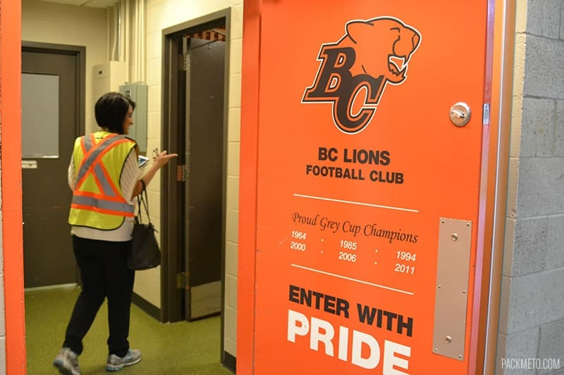 BC Lions Locker Room at BC Place | packmeto.com