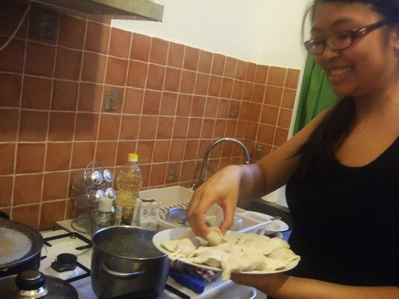 Adelina Making Dumplings in Budapest